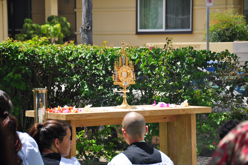 Benediction in the Parish Garden