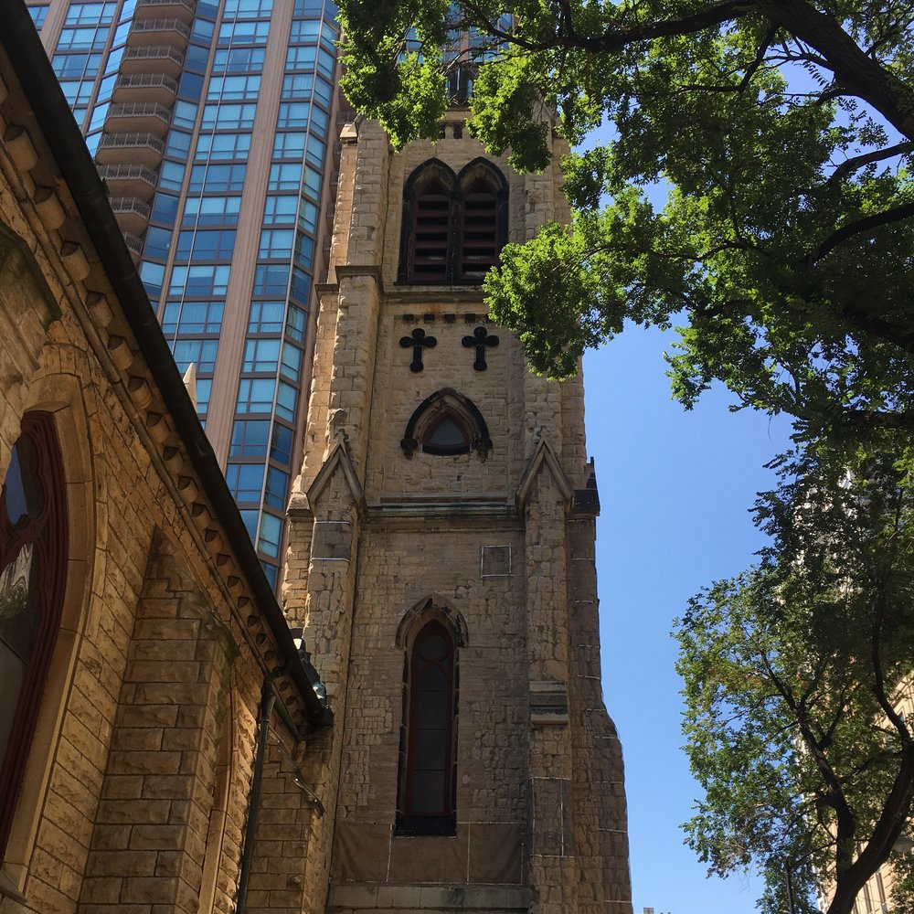 The tower of St. James Cathedral in Chicago