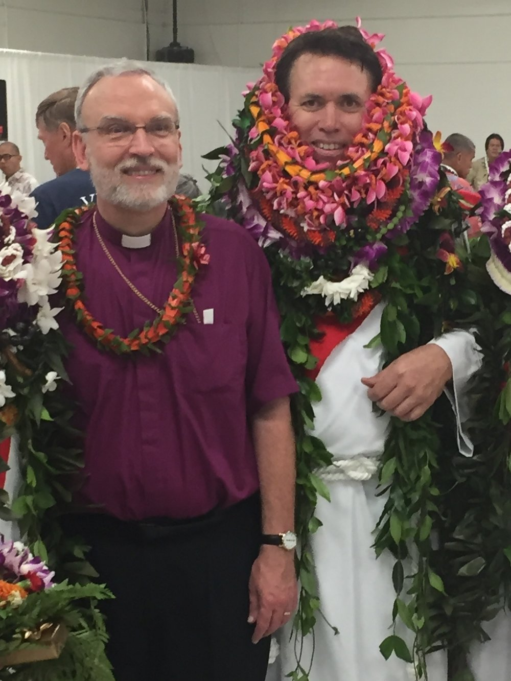 Father Nahoa at his ordination with Bishop Fitzpatrick.