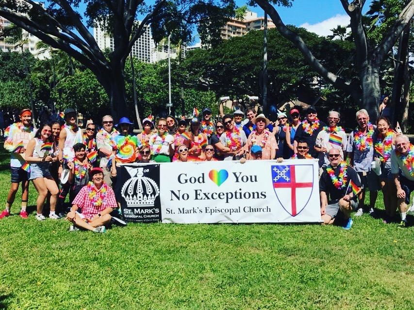 St. Markers pose for a photo at the end of the Honolulu pride Parade in Kapi'olani Park.