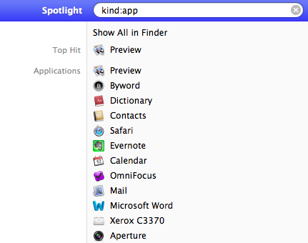 Apple Spotlight search by kind:application