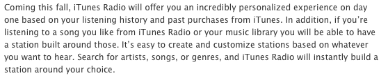 iTunes Radio press release in US