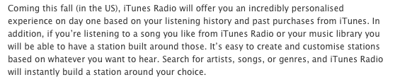 iTunes Radio press release in Australia