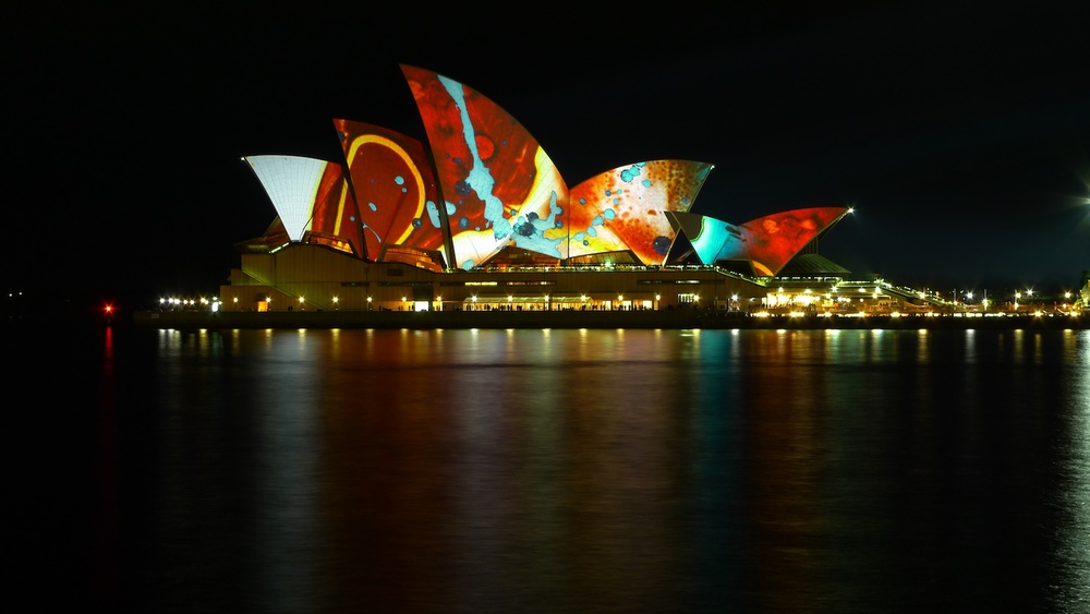 The Sydney Opera House illuminated for the 2009 Fire Water Festival