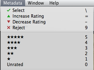 Apple Aperture ratings options