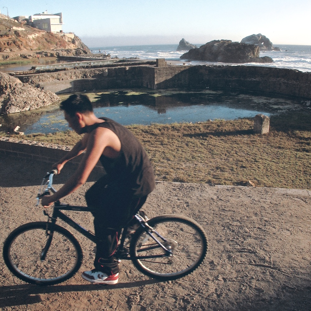 A cyclist riding around Baths in San Francisco