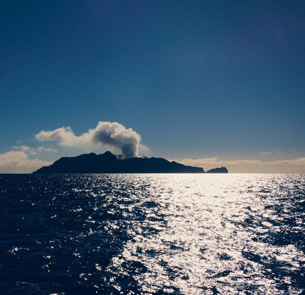 Steam blowing out of White Island, an active marine volcano about 50kms from Whakatane, New Zealand.
