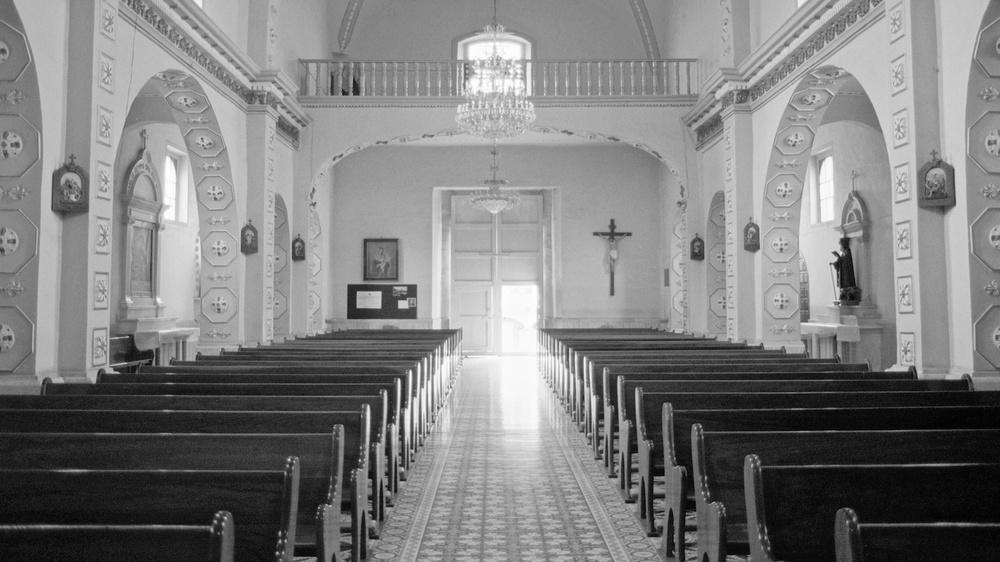The interior of a church somewhere in Mexico, sometime in the 1990s.