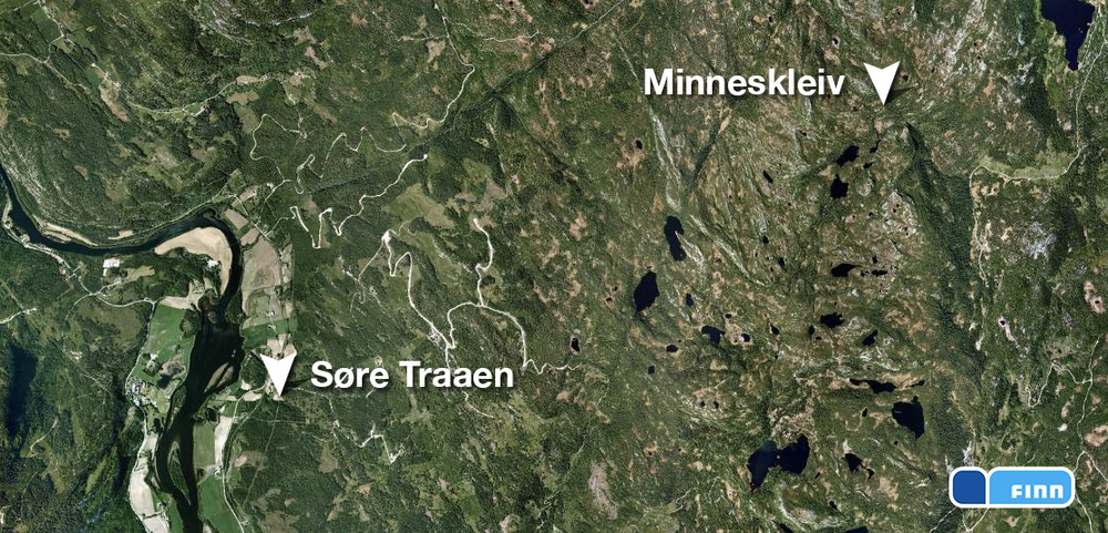 Søre Traaen i Rollag og seteren Minneskleiv. Se  kart .