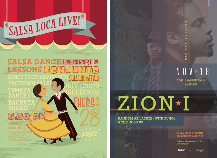Salsa Loca poster, designed by Peter Duong; Zion I concert poster, designed by Eugene Bae Park