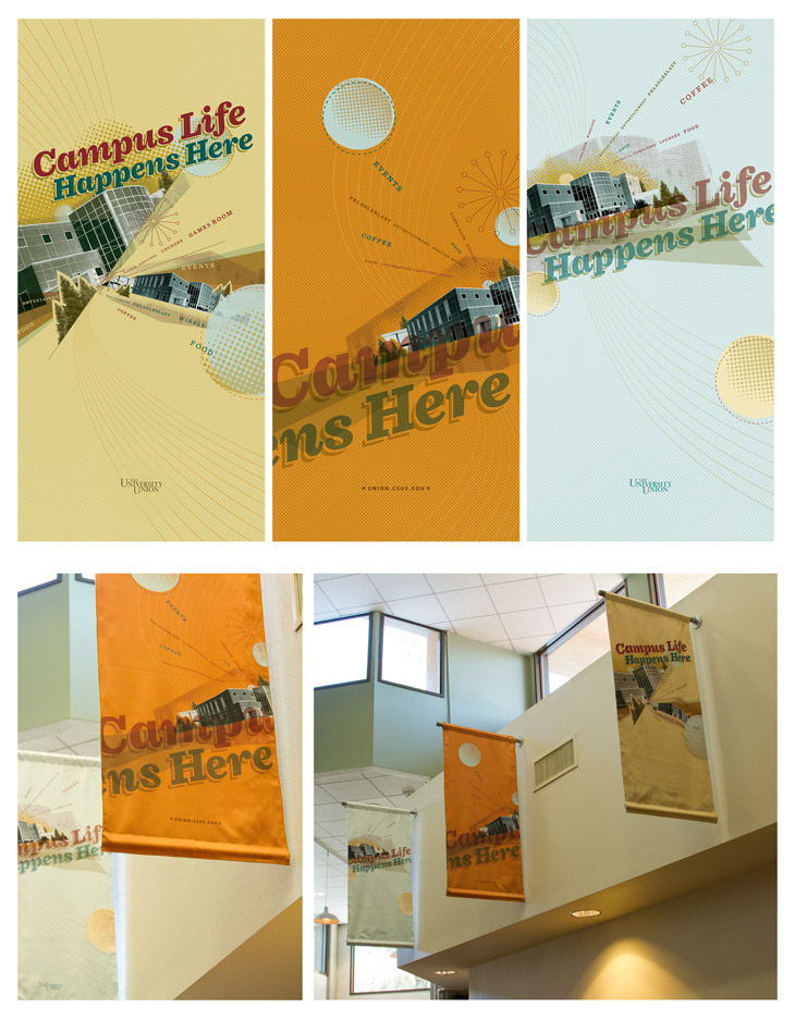 University Union Banners, designed by Peter Duong