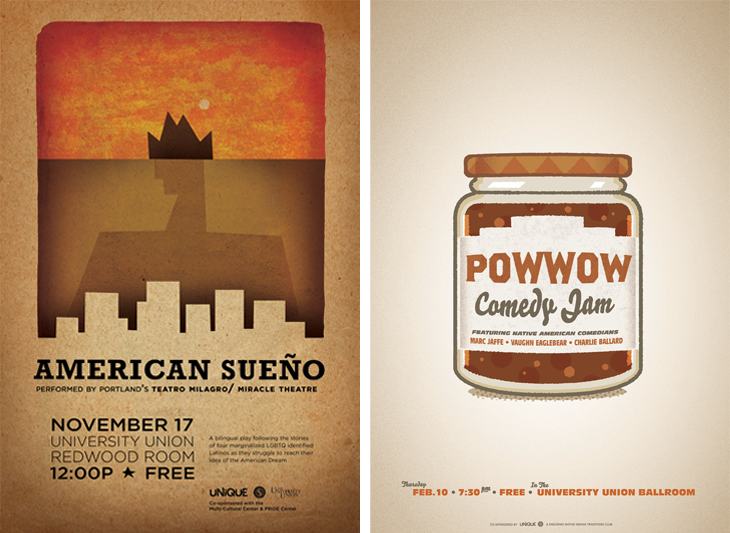 American Sueno poster and Pow Wow Comedy Jam poster, designed by Jose Rivera
