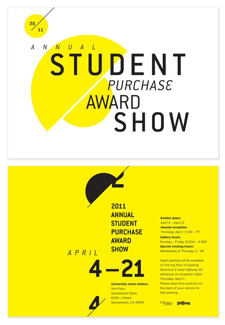 Student Purchase Award Show Postcard, designed by Jose Rivera