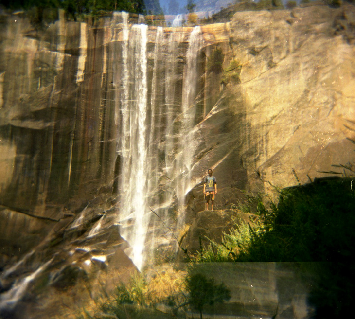 My brother Ryan standing in front of Vernal Falls. Double exposure.