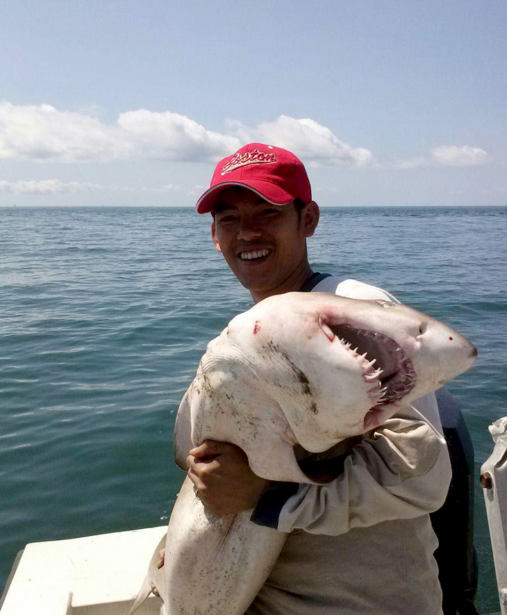 This is Bi, a good friend of mine, who actually went shark fishing on the east coast on Analog Day. He caught 5 sharks!