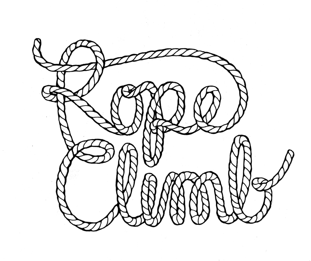 Next I drew in the rope texture and outlined the entire drawing in ink. This is the most tedious part of any hand-lettering project. Of course, any minor mistakes made can usually be fixed in photoshop. This is the scanned image (600 dpi) of my final drawing. After this I scaled the scanned image up by 300% and did a live trace in Illustrator. Next I did some minor tweaks to the image, which resulted in separating the type into three parts (seen below) so that I would have more freedom in playing with color in the next step.