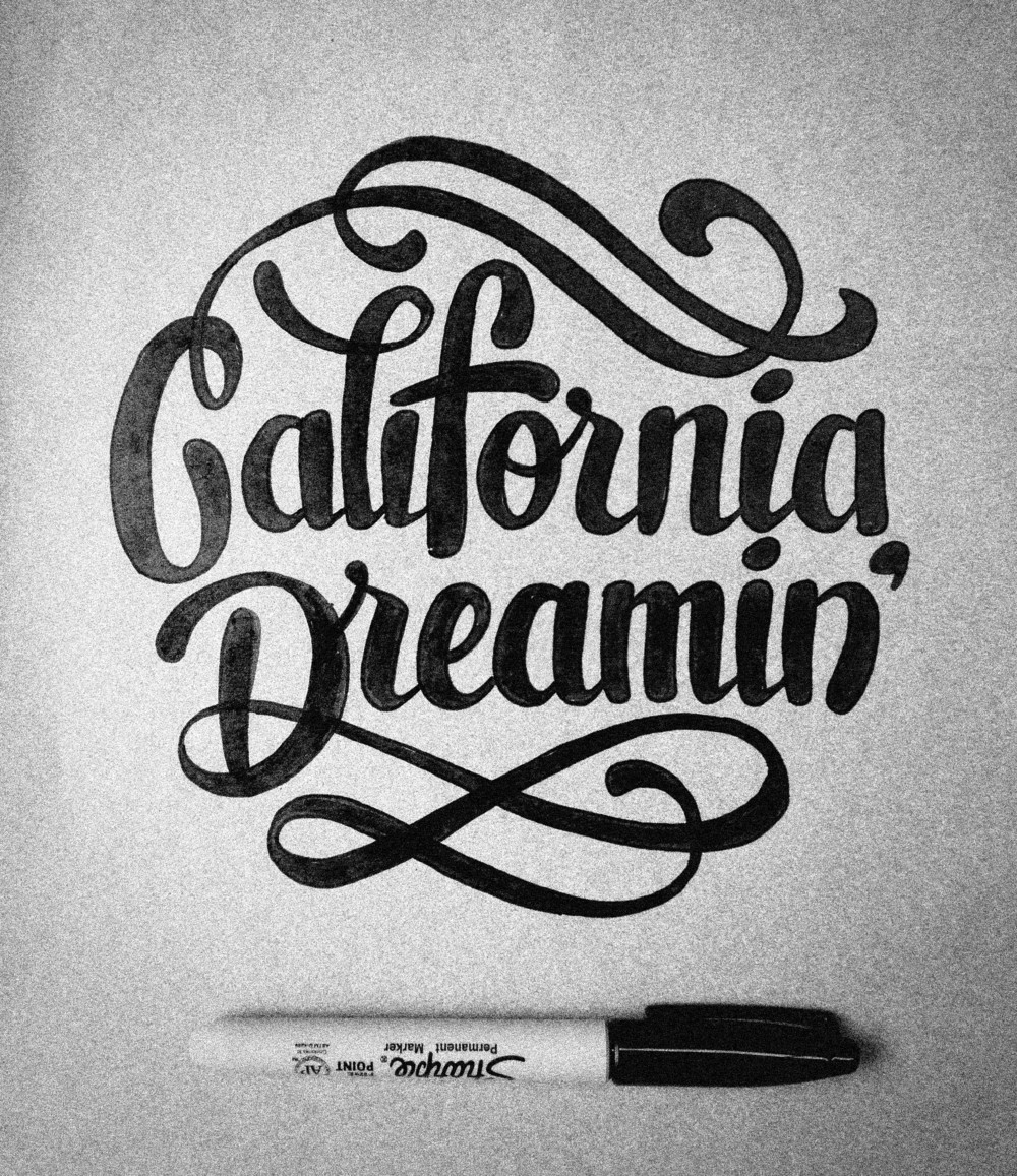 "This is the revised sketch with a revamped style. Definitely feeling more fun and ""California"" to me. Time to take it into Illustrator for vectorizing and cleaning up the curves."