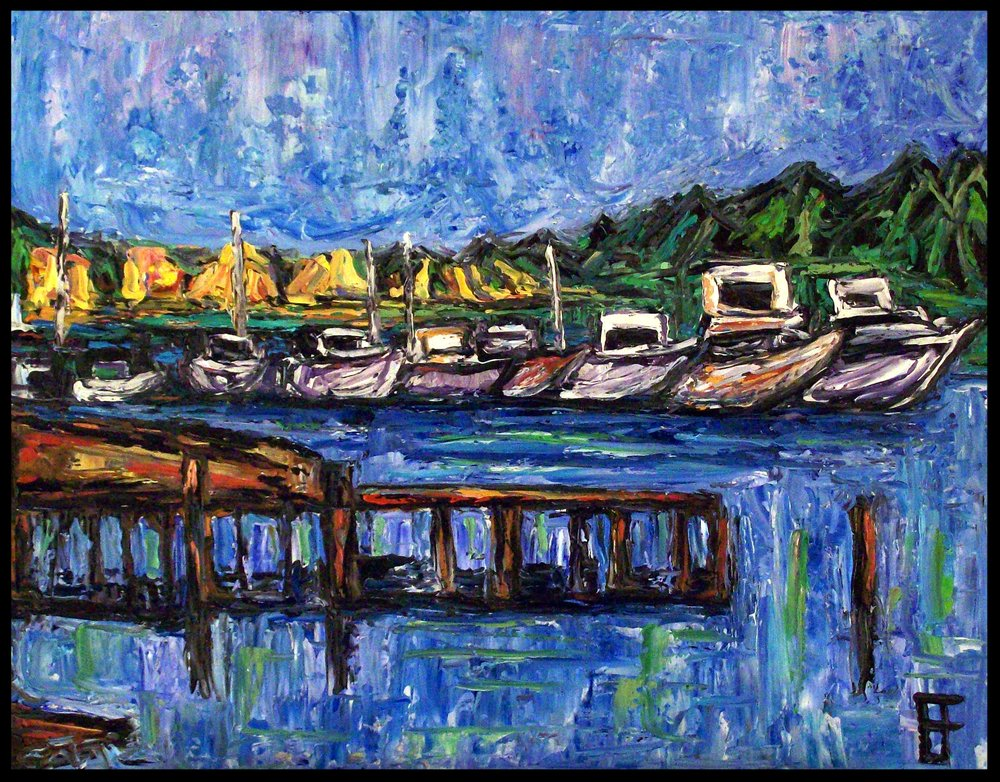 "Allen Forrest. ""Meydenbauer Bay Harbor, Bellevue, WA."" Oil on canvas"
