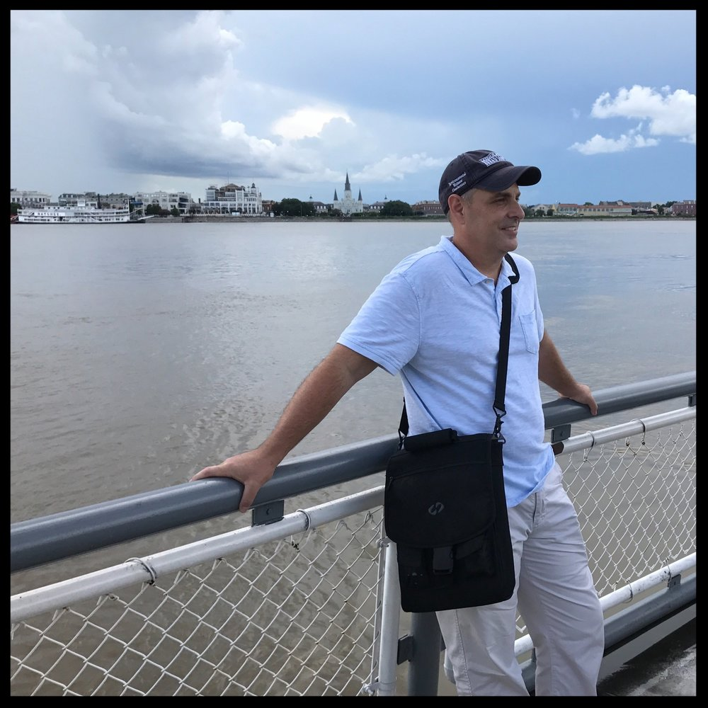 Jack Bedell crossing the Mississippi River on the ferry to New Orleans during the New Orleans Writing Marathon. One of his favorite places to write.
