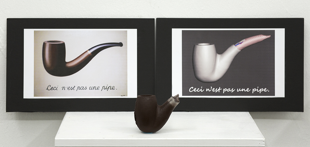 A 3D printed pipe and it's 3D mesh model are featured alongside the iconic image by Magritte. A project about language, representation, and how a digital concept through the use of a 3D printer can become a literal form.