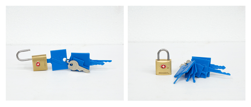 This project centers around ideas of digital privacy and freedom of information. This student found a stolen set of TSA keys that open most luggage locks. The student digitally scanned and printed the keys with a MakerBot 3D printer. The key set was demonstrated in class to be capable of opening locks.