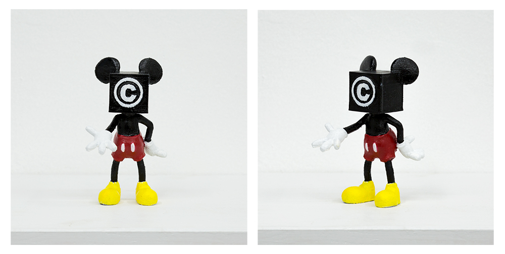 "Dealing with ideas of copyright and creative freedom, this projected features a 3D scanned replica of a Mickey Mouse toy which was been digitally altered to have a ""Copyright"" symbol for a face. The iconic image outstretches it's hand as if to claim it's due royalties."