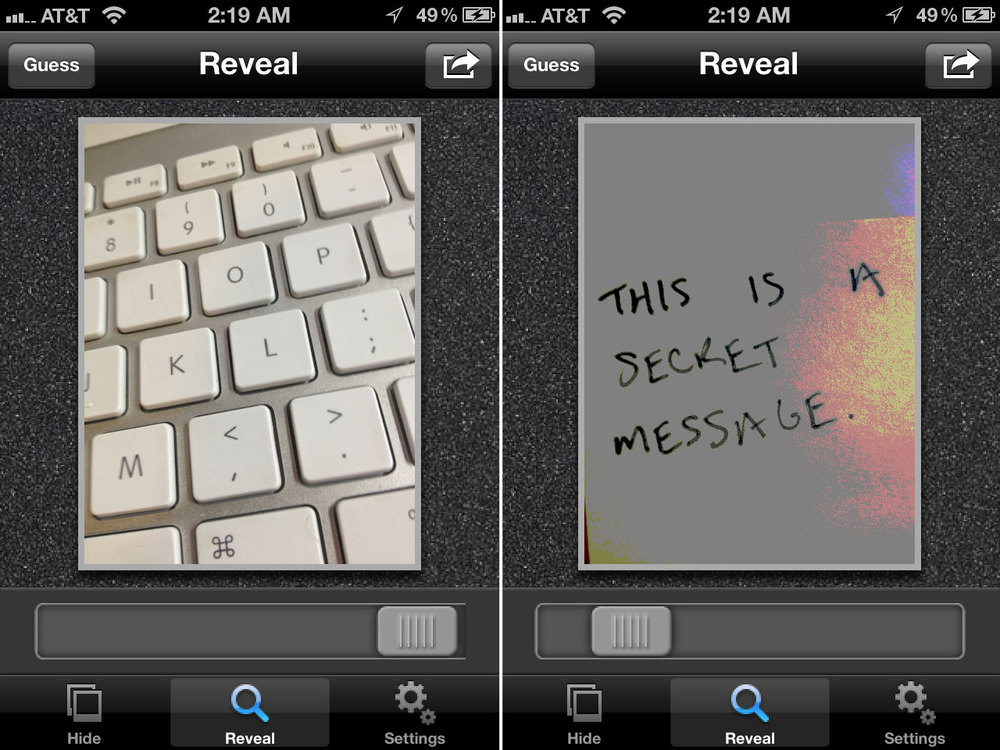 Figure 2: Screenshots of Spy Pix demonstrating the embedding of a secret message into a cover image of a keyboard.