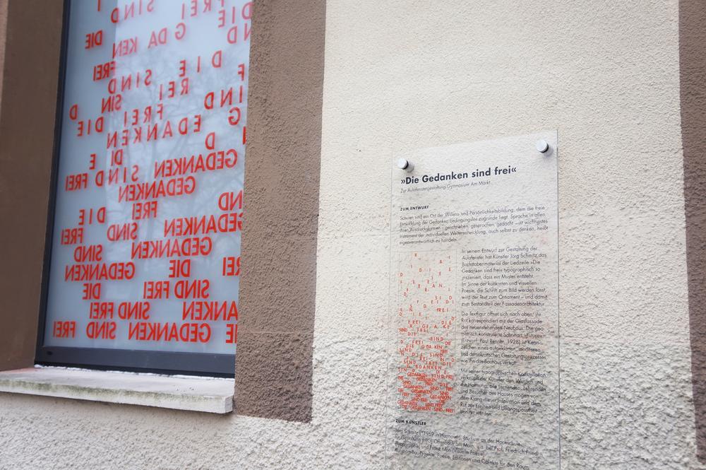 Texttafel zu Jörg Schmitz' Glasgestaltung