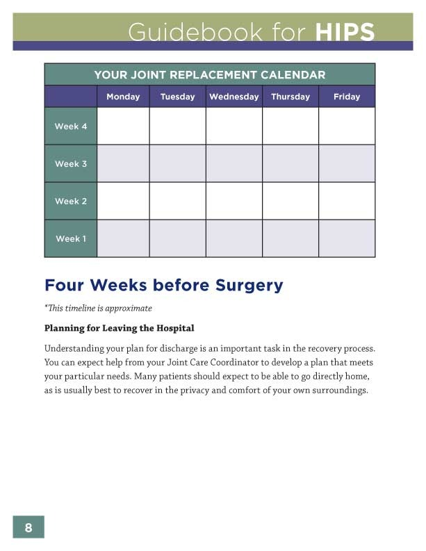 WVMC Hip Replacement Guidebook Sample Page
