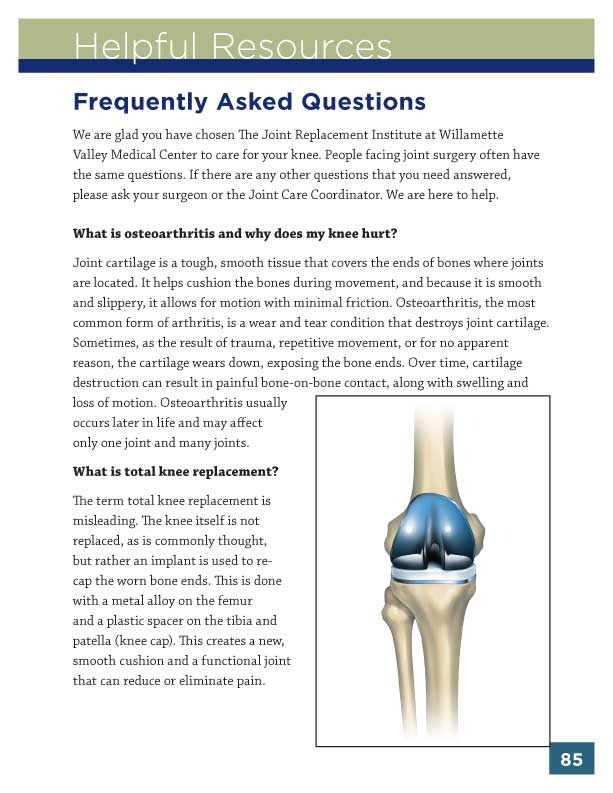WVMC Knee Replacement Guidebook Sample Page