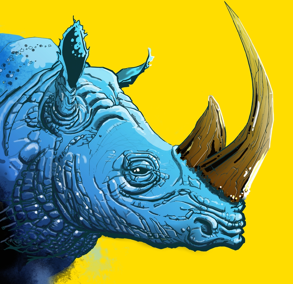 Blue Rhino on Yellow Background