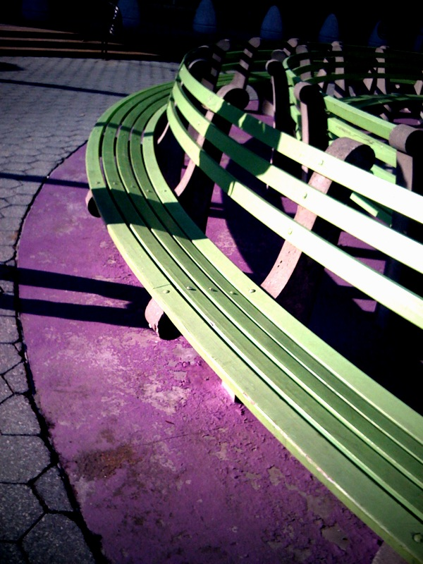 As one of my goals for 2010 I will try and upload a photo every day. This should both force me to look for interesting shots as well as providing and interesting way to look back on the year. So here is a picture of a bench in NYC.