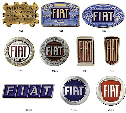 "Great post on the evolution of car logos. The post is very detailed with some great trivia to go along with the images. Supposedly, the famous Fiat ""scrabble tiles"" logo of the 1960s was designed by the company's Chief Designer who was driving past the Fiat factory during a power outage and saw an outline of the factory's neon sign against the dark sky Link"