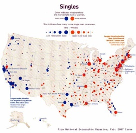 Did I make a mistake, looks like NY is the place to be for a single man like me.  Map shows the excess of men and women by region in America.
