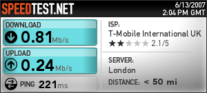 Here is the speedtest.net result using my N95 as a modem on T-mobile web and walk.
