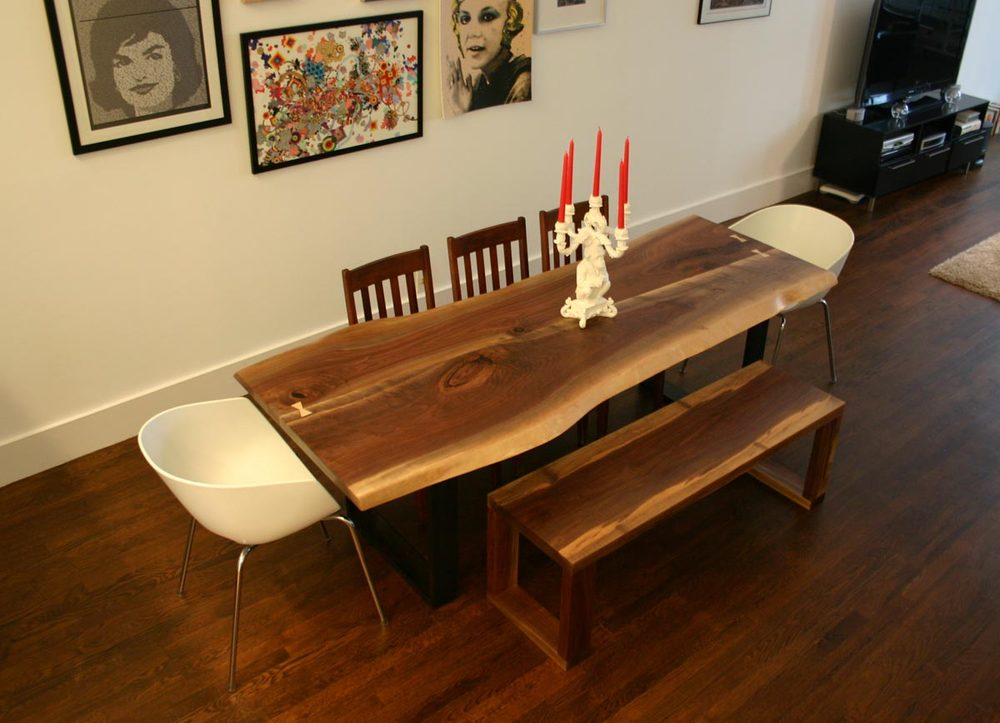 Live-Edge Dining Table with Custom Bench