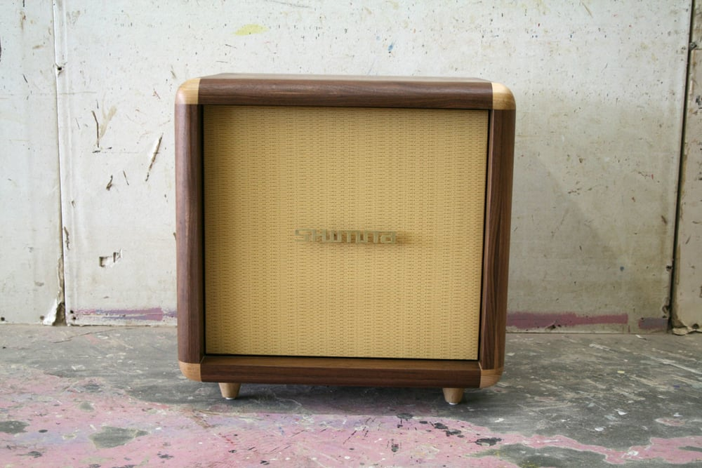 "Small STACKS Cabinet $1̶2̶0̶0̶ reduced 50% to $600 Small nightstand inspired by vintage Midcentury guitar amps. Fabric covered door with maple accents. Dimensions: 20"" x 20"" x 15"" d Walnut hardwood, floor model final sale. Email us from the 'Contact' page to purchase."