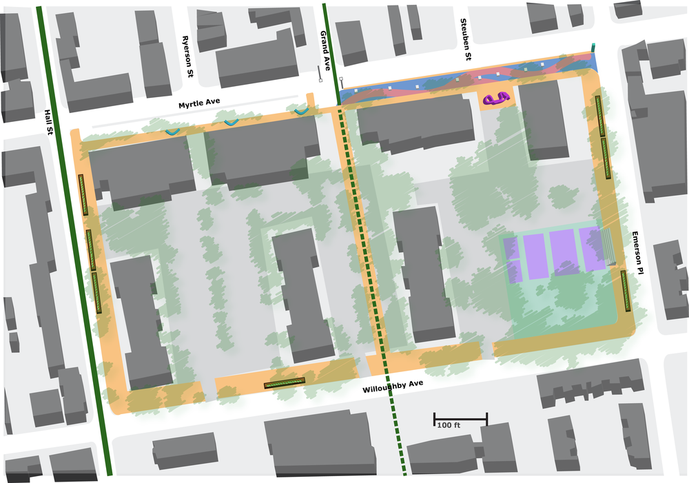 Some of our proposals: public art, widened sidewalks, plazas, and community garden space.