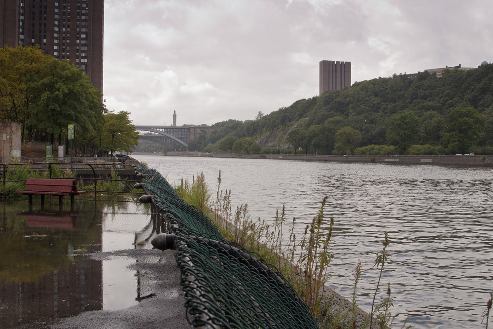 Harlem River looking south towards the High Bridge from (a flooded) Roberto Clemente State Park