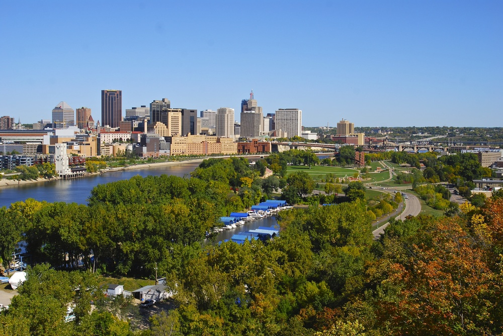 downtown st paul, harriet island on the right.jpg