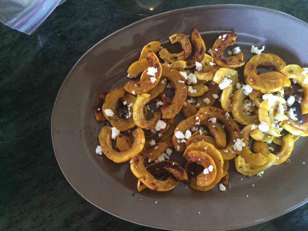 Delicata Squash with Thyme, Feta and Honey