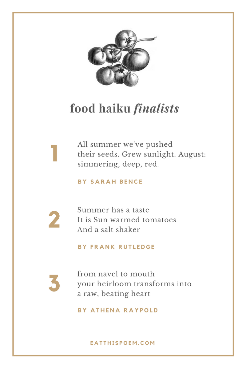 August Food Haiku Finalists from Eat This Poem