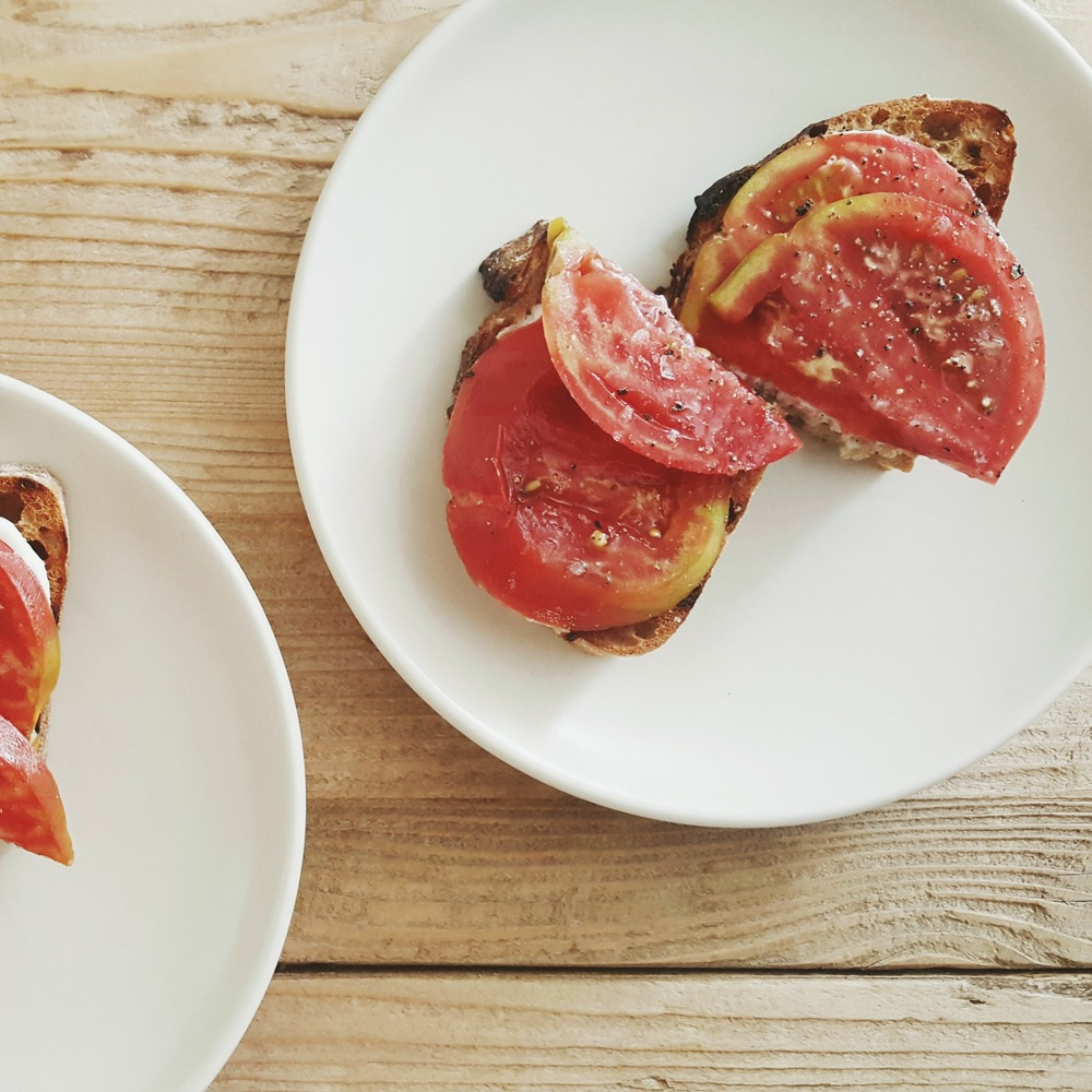 Tomato Tartine with Garlic Creme Fraiche | Get the recipe!