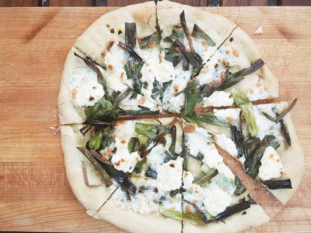 Grilled Scallion Pizza