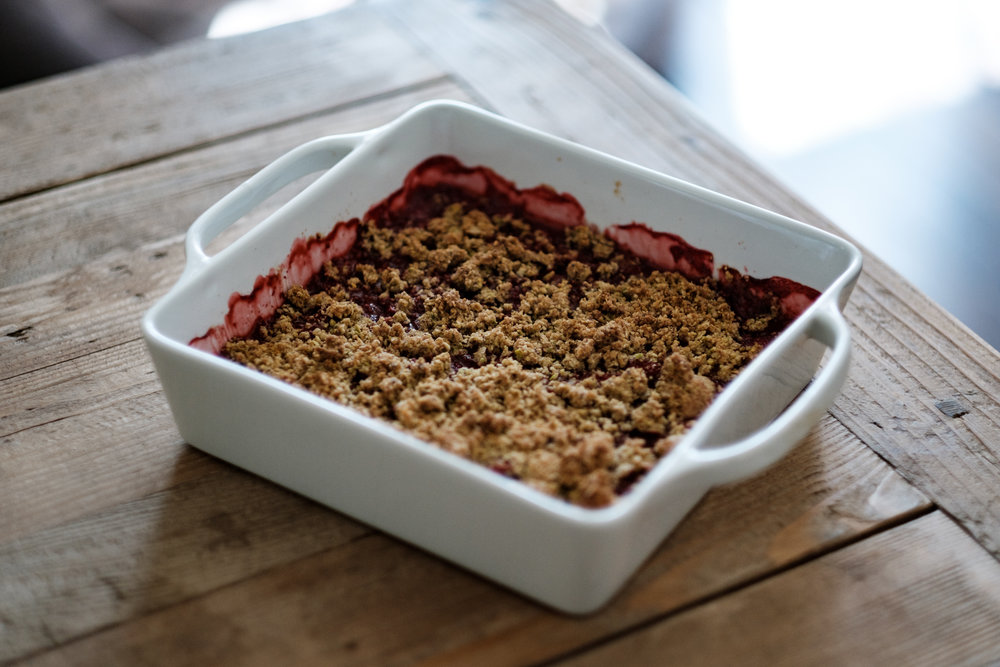 Strawberry and Pistachio Crumble from Eat This Poem