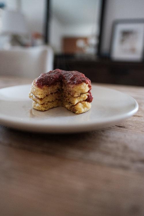 Cornmeal Pancakes Strawberry Chia Jam via Eat This Poem
