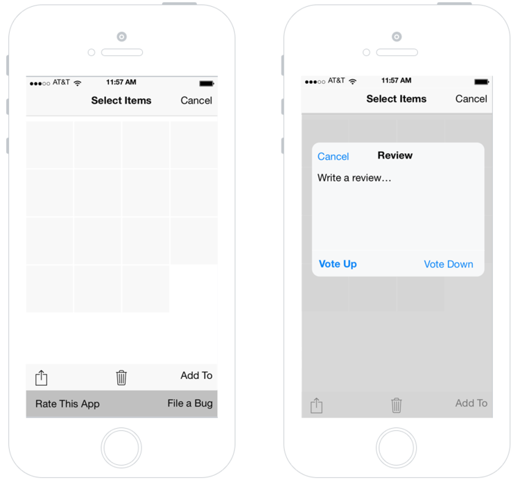 App review in a share sheet (concept by Thomas Verhoven)