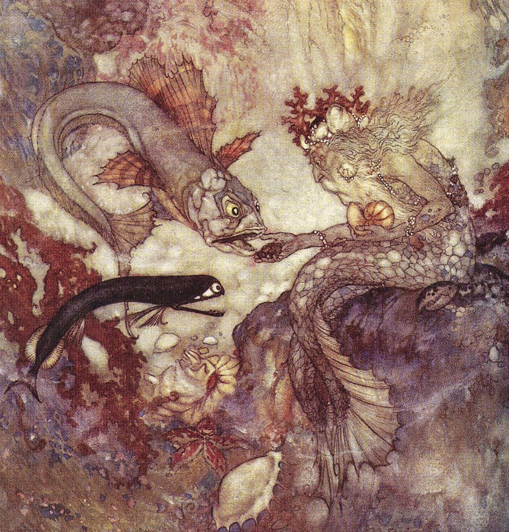 "From  Edmund Dulac's  illustrations of Hans Christian Andersen's ""The Little Mermaid."""
