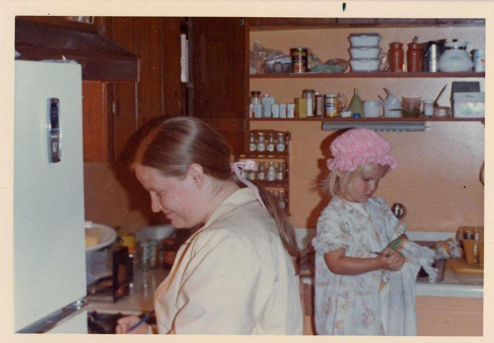 1973 - Mom's twenty-four, and I'm four. She sewed that nightgown and adorable little sleeping cap. It sure would come in handy now...