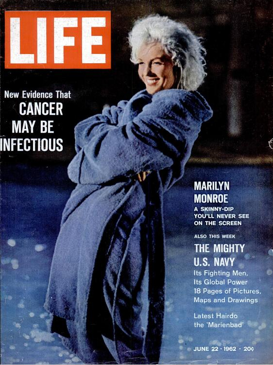 "Here's the cover! So it is ""the one with Ms. Monroe"" !  The images above are © by LIFE magazine, and per terms on google books are ""free [for users to] access to share, print and post images for personal use."""